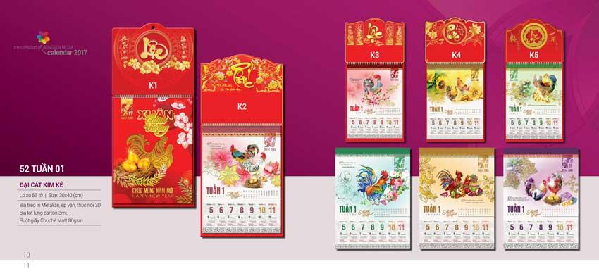 Tết 2017 tặng lịch Đại Cát Kim Kê
